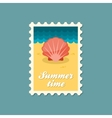 Seashell flat stamp vector image