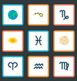 set of galaxy icons flat style symbols with globe vector image vector image