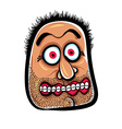 Shocked cartoon face with stubble vector image vector image
