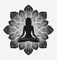 silhouette of meditating girl in yoga pose on vector image