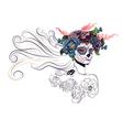 Sugar Skull Girl in Flower Crown11 vector image vector image