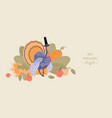 thanksgiving banner with a turkey vector image