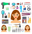 tools for makeup and beaty vector image vector image
