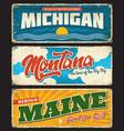 usa states maine michigan montana signs plates vector image vector image