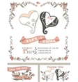 Vintage wedding invitation setStylized hearts vector image