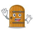 waving wooden door isolated on character cartoon vector image