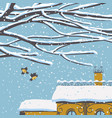 winter cityscape with snow-covered roand birds vector image