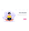 young woman working with laptop flat style vector image