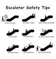 1264 escalator safety tips vector image