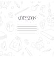 Back to school monochrome doodle notebook design vector image vector image