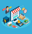 banking online shop isometric composition vector image vector image