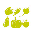 beetroot eggplant tomato and other vegetable icons vector image vector image