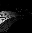 black background with tire track print marks vector image vector image