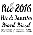 BrasilRio lettering set2016 competition games vector image