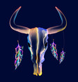 bright bull skull with feathers over dark vector image vector image
