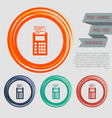 calculator icon on red blue green orange vector image vector image