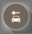 car key simplistic sign white icon on vector image vector image