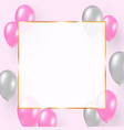 celebration design with pink and silver balloons vector image vector image