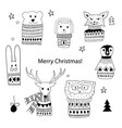 christmas doodle animals vector image vector image