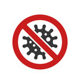 coronavirus icon with prohibit sign on white vector image vector image