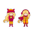 cute blonde little girls autumn fashion vector image vector image