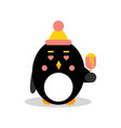 cute cartoon penguin character wearing hat and vector image vector image