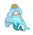 cute little mermaid with wavy long blue hair and vector image