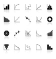 Diagram and graph icons with reflect on white vector image vector image