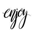 enjoy hand drawn lettering brush calligraphy vector image vector image