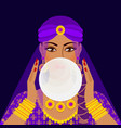 fortune teller with crystal ball vector image vector image