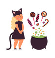 halloween magic witch cauldron make sweets cute vector image