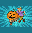 halloween pumpkin farmer man with a wooden vector image