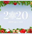 happy new year card with fir tree vector image vector image