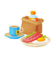 healthy breakfast paper bag package with bottle vector image vector image