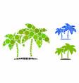 island palms mosaic icon circles vector image vector image