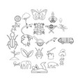 ligneous icons set outline style vector image vector image