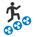 man climb ripple coins flat icon vector image