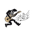 musician player guitarist with guitar and notes vector image vector image