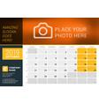 october 2019 desk calendar for 2019 year design vector image vector image
