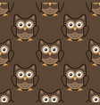 owl stylized art seamless pattern brown colors vector image vector image