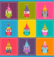 patchwork background with cute cartoon colorful vector image