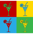 Pop art cocktail glass icons vector image vector image