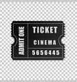 realistic black cinema ticket isolated object vector image