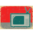 Retro television Grunge symbol on old poster vector image