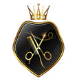 scissors and comb gold crown symbol vector image vector image
