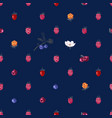 seamless pattern with hand drawn berries vector image vector image