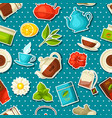 seamless pattern with tea and accessories packs vector image vector image