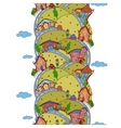 Seamless vertical pattern with cartoon houses vector image vector image