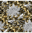 seamless vintage pattern on black white and beige vector image