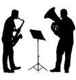 silhouette of musician playing the saxophone and vector image vector image